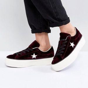 Velvet Burgundy Converse 👾💓🥰
